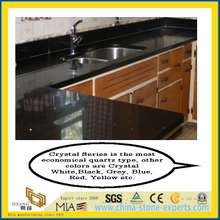 Crystal Black Artificial Quartz Countertops for Kitchen Table (YYK-Q02)