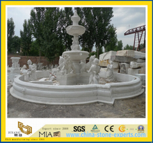 White Marble Stone Garden Water Fountain with Ladies and Lions-Yya