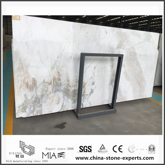 New Polished Arabescato Venato White Marble for Background (YQW-MSA0621001)