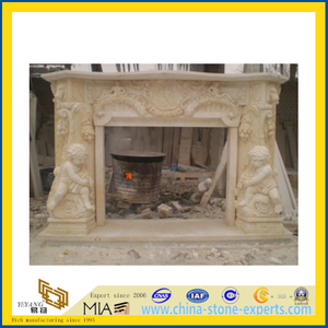 Sunny Beige Marble Fireplace with Kid Scuptures(YQC)