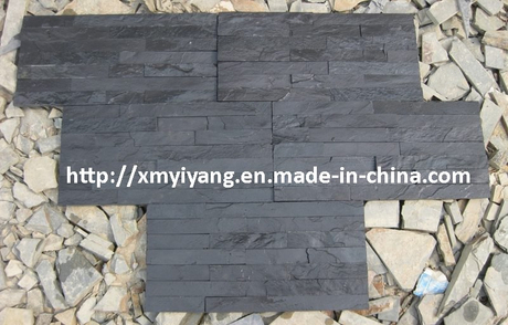 Black Slate Stacked Stone for Wall Cladding