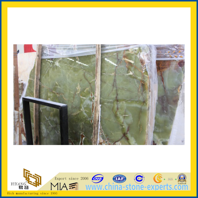 Polished Natural Stone Green Onyx Marble Slabs for Countertop/Vanitytop (YQC)