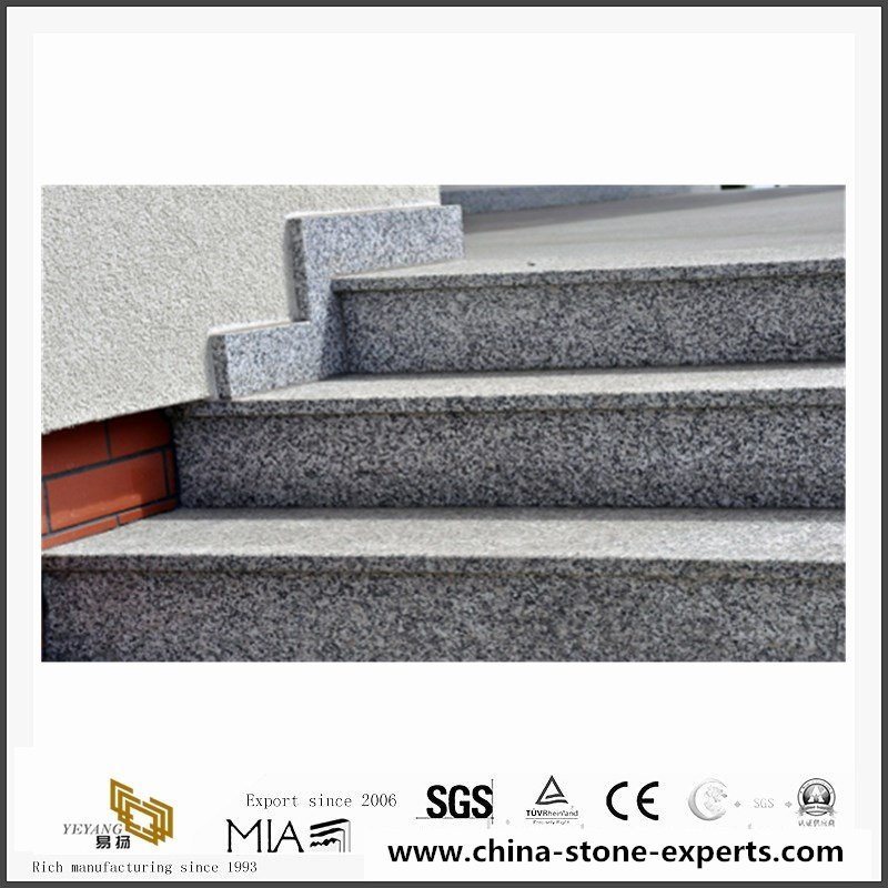 Grey granite Stone tiles with eased edges for stairs projects2