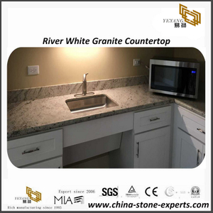 Splendid River White granite kitchen countertops for residential project