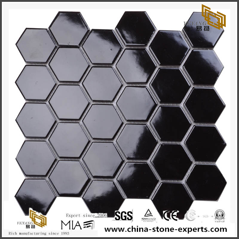 Polished Dark Black Tiles Ceramic Hexagon Mosaic 305X305Mm