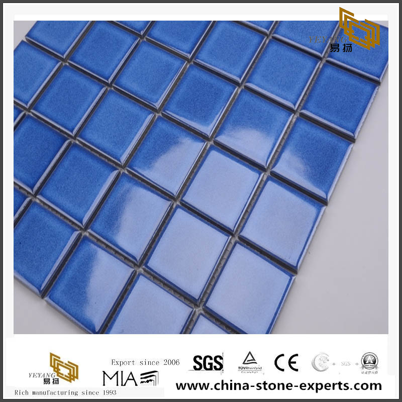 Bathroom Ceramic Mosaic Blue Mosaic Tile For Swimming Pool