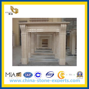European Beige Marble Fireplace for Indoor Outdoor