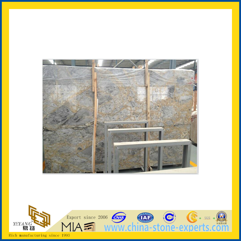 Polished Natural Gold Imperial Marble Slabs for Countertop/Vanitytop (YQC)