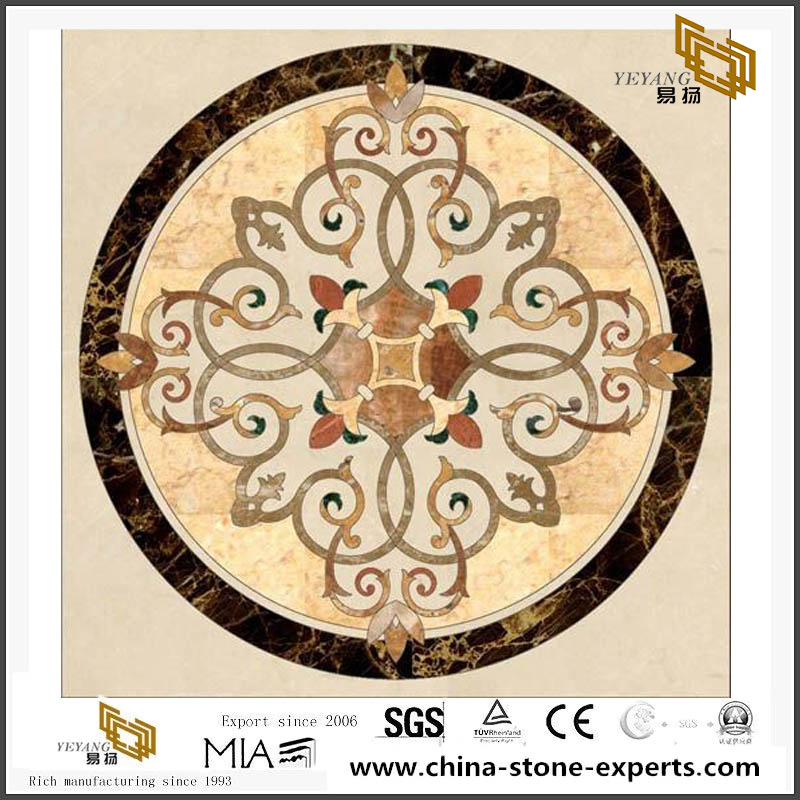 Traditional Chinese Style Pattern Medallion Marble Stone Waterjet Tile Top Sale