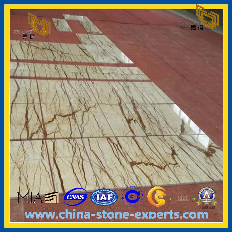 Quality Gold Veins Marble Tiles Waterproof With High Polished For Floor