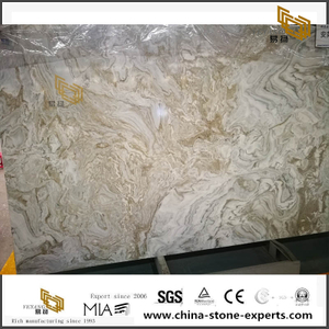 Andean Snow Marble Slab Yellow And White Decoration Tile Marble For Hall