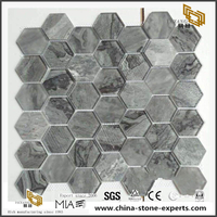 Black And Gray Glass Mosaic Hexagonal Mix Materials Mosaic Tile
