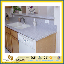 Polished Artificial Quartz Bathroom White Marble Granite Vanitytop (YQC)