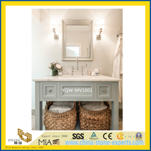 White Custom Cultured Marble Vanity Tops for Bathroom