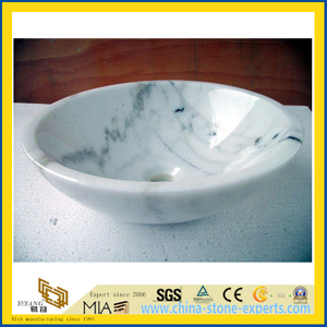 Calacatta White Marble Polished Stone Basin for Bathroom, Kitchen