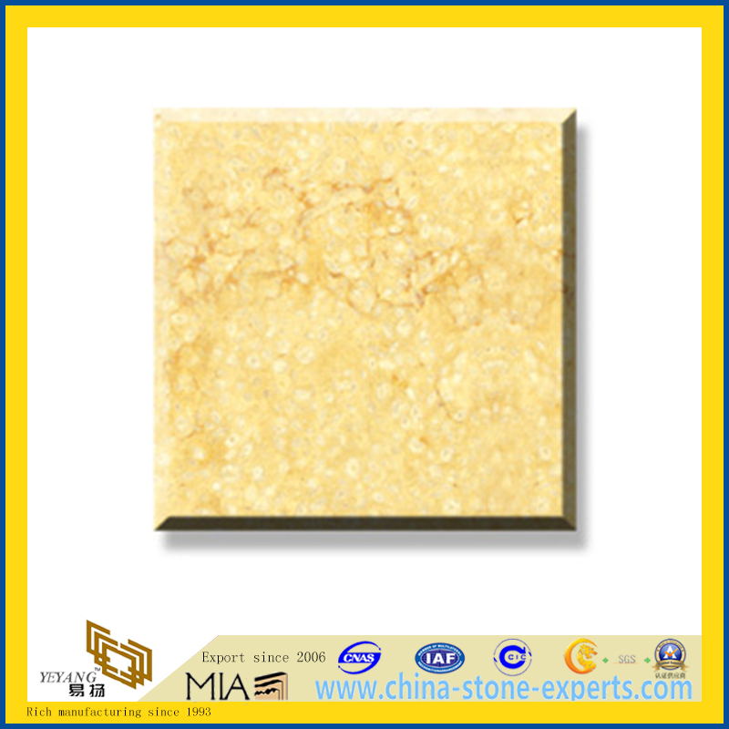 Polished Natural Stone Sunny Marble Slabs for Wall/Flooring (YQC)