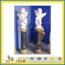 White Marble Stone Carved Psyche and Cupid Angel Statue Sculpture(YQG-LS1011)