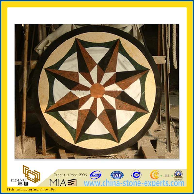 Marble Stone Floor Waterjet Medallion for Interior Tile Decoration (YQZ-M)
