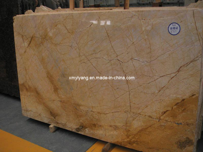 Polished Yellow/Gold Marble Slab for Floor Tile / Wall / Kitchen / Bathroom