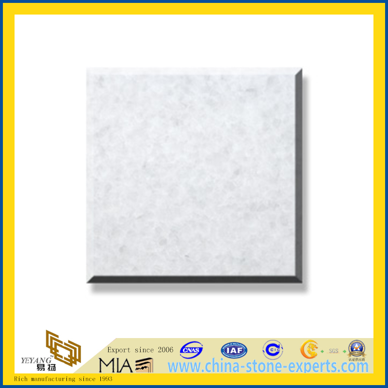 Polished Natural Stone Crystal White Marble Slabs for Wall/Flooring (YQC)