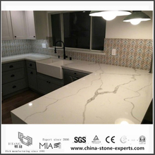 Diy Prefab White Calacatta Quartz Kitchen Countertops(YQW-QC0629014)