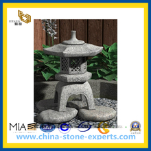 Natural Grey Granite Stone Lantern for Outside Garden(YQG-CS1034)