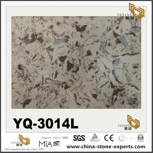 YQ-3014L Granite Vein Quart Surface Beige Quartz Tile