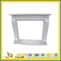 Custom Modern White Marble Carved Stone Fireplace Mantel for Sale(YQC)