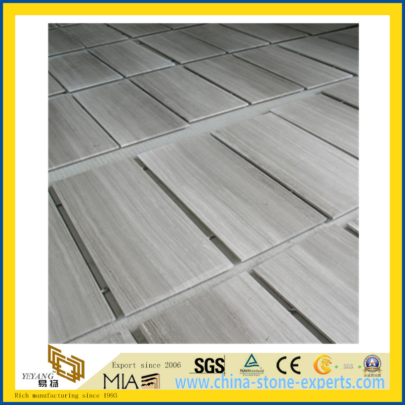 China White Wood Grain Marble Tiles/Slab for Flooring Wall Clading