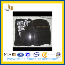 Black Book Shape Granite Grave Stone Memorial Headstone with Flower (YQZ-MN)