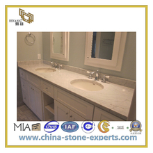Natural Stone Polished Bathroom Carrara White Marble Vanity Top(YQC)