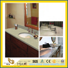 Polished Prefab Sparkle White/Golden Artificial Quartz Stone Bathroom Vanity Top
