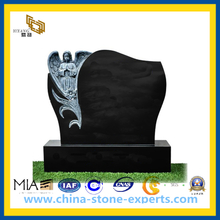 Black Grey Granite Stone Carved Grave Tombstone Headstone with Angel (YQZ-MN)
