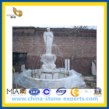Marble Stone Fountains with Statue for Garden(YQG-CS1032)
