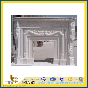 Modern Fireplace Mantel, Guangxi White Marble Indoor Fireplace(YQC)