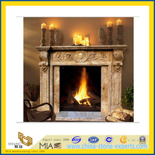 Natural Stone Yellow Marble Fireplace for Indoor & Outdoor(YQC)