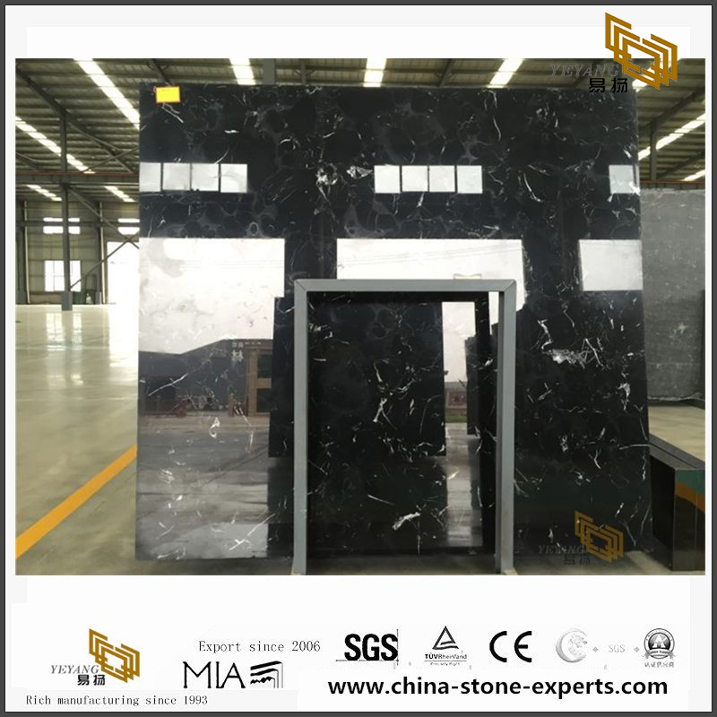 High Polished New Black Ice Flower Marble for Home Design(YQW-MSB102105)