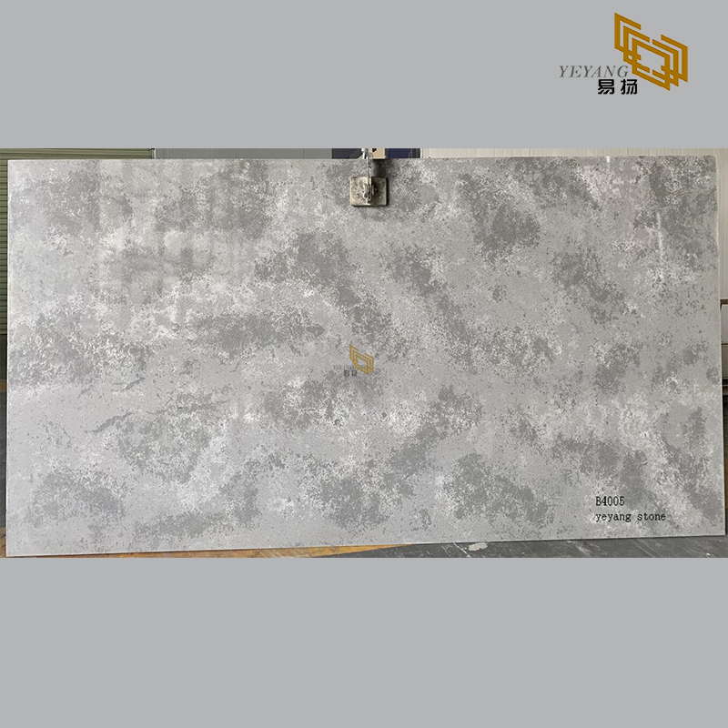 Caesar grey quartz slabs tiles for bathroom countertops(B4005)