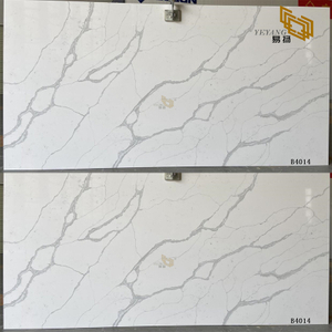 Grey long vein with white bottom quartz slabs B4014 for kitchen countertops
