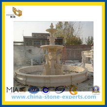 Beige Marble Stone Dolphin Water Fountain