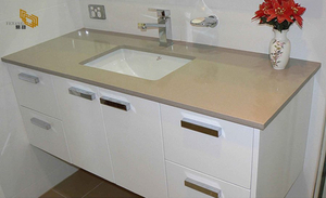 Beige Commercial Bathroom Sink Quartz Vanity Top