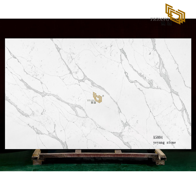 Light color stone white calacatta quartz slabs for project(A5004)
