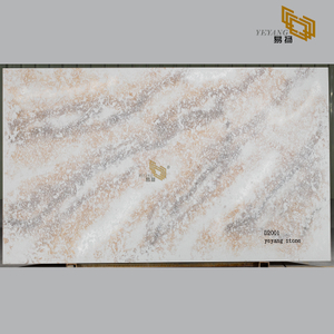 Brown yellow quartz stone slabs countertops from factory outlet(D2001)