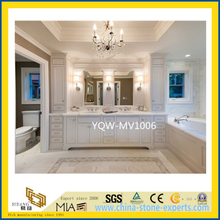 Solid Surface White Carrara Marble Bathroom Vanity Top for Hotel