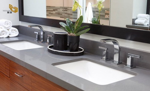 Grey Double Sink Quartz Vanity Top