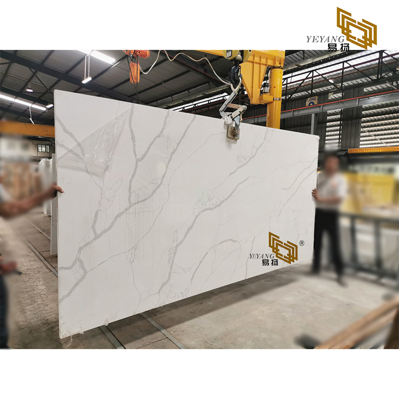 Calacatta white quartz kitchen countertops project manufacture YQ-NT309