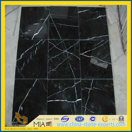 Nero Marquina Black Marble Tiles for Flooring and Wall / Bathroom/Backsplash