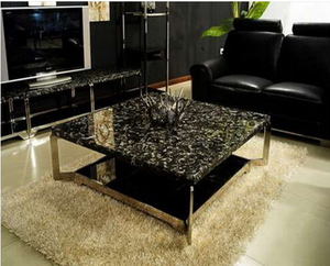 Black fossil marble table top Project -YEYANG STONE FACTORY