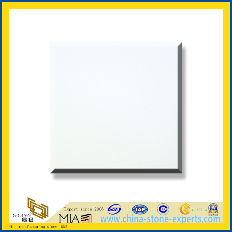 Polished Natural Stone Pure White Marble Slabs for Wall/Flooring (YQC)