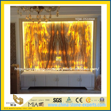 Luxury Translucent Yellow Onyx Stone Slab for Wall